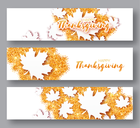 Happy Thanksgiving Day. Three Autumn Greetings card with origami white maple leaves on gold glitter background with title. 3 Abstract Paper cut Trendy Design Template for banner, flyer