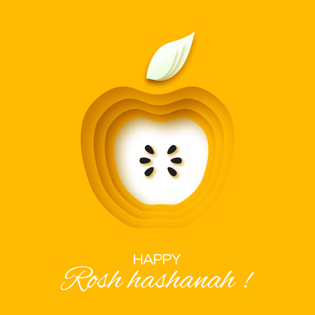 Rosh Hashanah holiday. Origami Greeting card Jewish New Year. Yellow background with apple. Vector design illustration