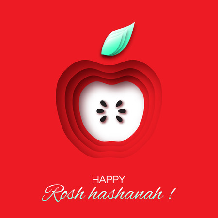 Rosh Hashanah holiday. Origami Greeting card Jewish New Year. Red background with apple. Vector design illustration Stock Illustratie