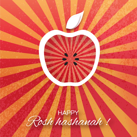 rosh: Rosh Hashanah holiday. Origami Greeting card Jewish New Year. Red background with apple. Vector design illustration Illustration