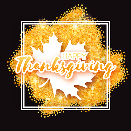 Happy Thanksgiving Day greeting card  with origami autumn white maple leaves on gold glitter background with title and black square frame. Abstract Paper cut Trendy Design Template.
