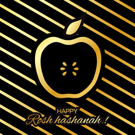 golden apple: Rosh Hashanah holiday. Origami Gold Greeting card Jewish New Year. Stripes background with golden foil apple. Vector design illustration
