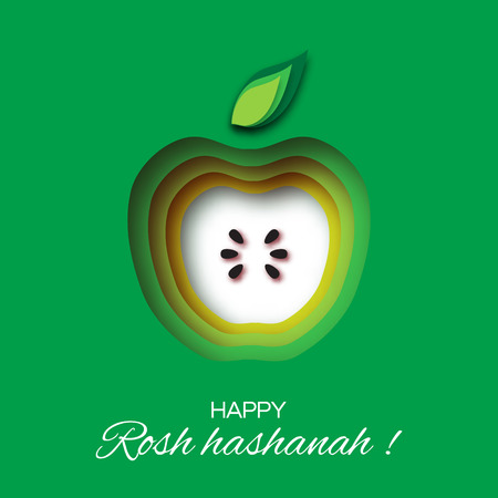 Rosh Hashanah holiday. Origami Greeting card Jewish New Year. Green background with apple. Vector design illustration