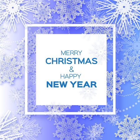 Merry Christmas And Happy New Year Greeting Card On Blue Background ...