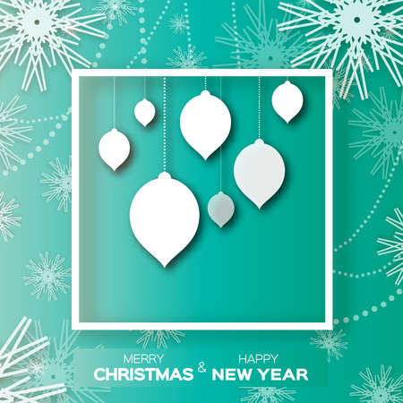 fiambres: Origami Merry Christmas ball background with snowflakes. Design elements for holidaygreeting cards. Happy New Year vector illustration. Vectores