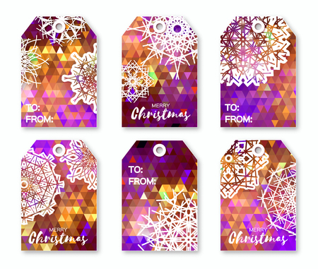title emotions: Christmas labels with origami snowflakes. Neon purple polygonal Festive collection. Ready-to-use gift tags. Xmas and New Year Set of 6 printable origami holiday label. Vector badge design illustration