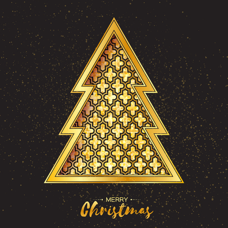 symmetry: Christmas gold tree. Greeting card. Happy New Year on black background with symmetry ornament. Vector illustration