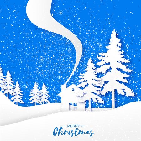 fiambres: Feliz Navidad y tarjeta de papel de felicitación feliz año nuevo. paisaje de Origami, el abeto, casa rural y el texto sobre fondo azul. Vector ilustración de diseño apliques