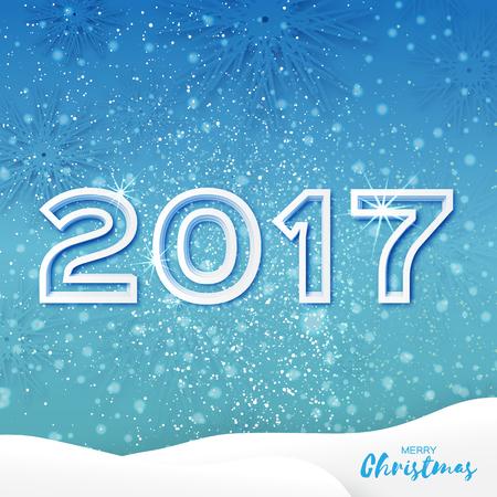 fiambres: Tarjeta blanca de Origami Feliz Navidad de felicitación con el recorte de papel 2017 y el paisaje en el fondo azul. día de fiesta feliz Año Nuevo. Vector de temporada, ilustración, diseño