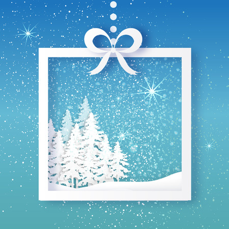 gift paper: White Origami Merry Christmas Greeting card with Cutout Paper Gift box, Xmas Tree and landscape on blue background. 2017 New Year holiday. Frame for text. Vector seasonal design illustration
