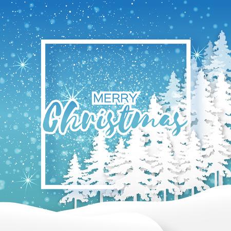 fiambres: tarjeta de felicitación blanca de Origami Feliz Navidad con el marco de papel del recorte para el texto, árbol de Navidad y el paisaje en el fondo azul. 2017 vacaciones del Año Nuevo. Vector de temporada, ilustración, diseño Vectores