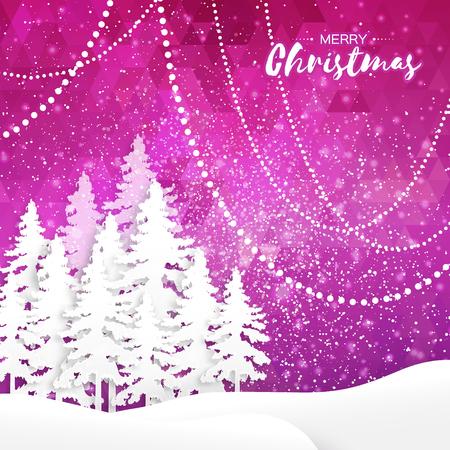 fiambres: Tarjeta blanca de Origami Feliz Navidad de felicitación con el papel del recorte del árbol de Navidad y el paisaje en el fondo poligonal púrpura. 2017 vacaciones del Año Nuevo. Vector de temporada, ilustración, diseño