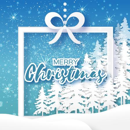 fiambres: tarjeta de felicitación blanca de Origami Feliz Navidad con caja de regalo de papel del recorte, árbol de Navidad y el paisaje en el fondo azul. 2017 vacaciones del Año Nuevo. Capítulo para el texto. Vector de temporada, ilustración, diseño Vectores