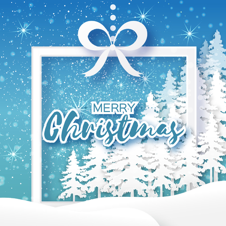 fiambres: White Origami Merry Christmas Greeting card with Cutout Paper Gift box, Xmas Tree and landscape on blue background. 2017 New Year holiday. Frame for text. Vector seasonal design illustration