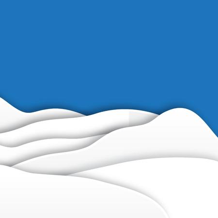 fiambres: Origami montañas de nieve. Papel de la Navidad cortó la tarjeta con el paisaje. Vector ilustración apliques