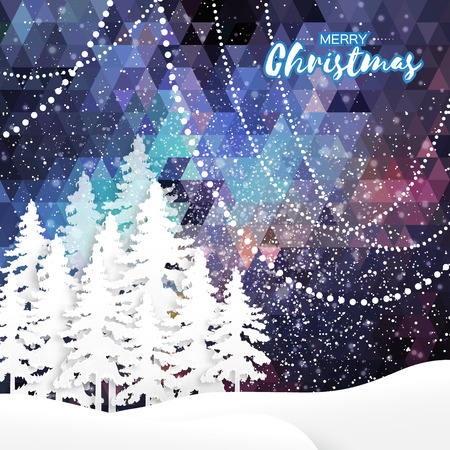 White Origami Merry Christmas Greeting card with Cutout Paper Xmas Tree and landscape on dark blue polygonal background. 2017 New Year holiday. Vector seasonal design illustration
