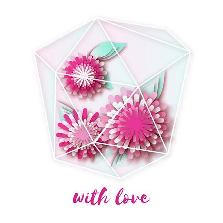 terrarium: Terrariums with paper cut flowers. Wedding, marriage, bridal, birthday, Valentines day. Origami garden in glass terrarium. Vector illustration Illustration