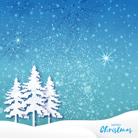 fiambres: White Origami Merry Christmas Greeting card with Cutout Paper Xmas Tree and landscape on blue background. 2017 New Year holiday. Vector seasonal design illustration
