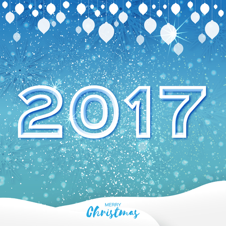 fiambres: Tarjeta blanca de Origami Feliz Navidad de felicitación con el recorte de papel 2017 y el paisaje en el fondo azul con guirnalda. día de fiesta feliz Año Nuevo. Vector de temporada, ilustración, diseño