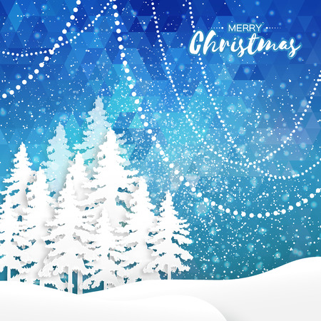 fiambres: White Origami Merry Christmas Greeting card with Cutout Paper Xmas Tree and landscape on blue polygonal background. 2017 New Year holiday. Vector seasonal design illustration