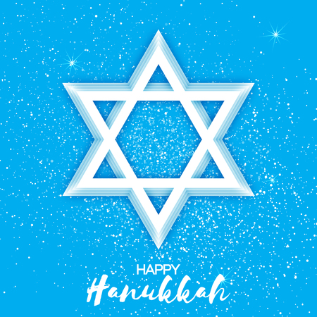 papercraft: Origami Star of David. Happy Hanukkah. Shining papercraft stars. Greeting card for the Jewish holiday on blue background. Vector illustration.