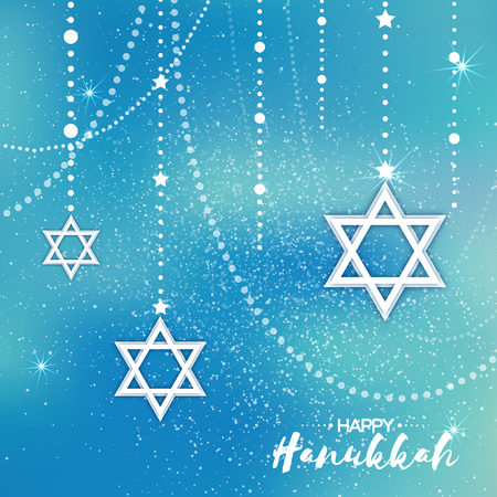 hasidic: Origami Star of David. Happy Hanukkah. Shining papercraft stars. Greeting card for the Jewish holiday on blue background with garland. Vector illustration. Illustration