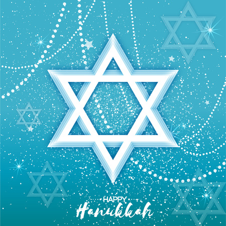 chanukkah: Origami Star of David. Happy Hanukkah. Shining papercraft stars. Greeting card for the Jewish holiday on blue background with garland. Vector illustration. Illustration