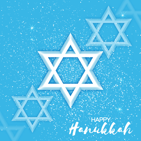 hasidic: Origami Star of David. Happy Hanukkah. Shining papercraft stars. Greeting card for the Jewish holiday on blue background. Vector illustration.