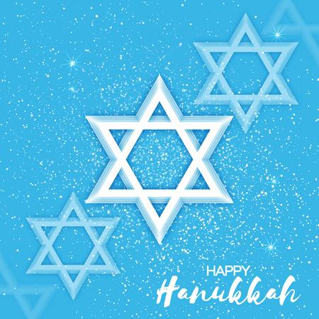 chanukkah: Origami Star of David. Happy Hanukkah. Shining papercraft stars. Greeting card for the Jewish holiday on blue background. Vector illustration.