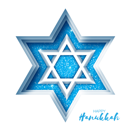 Origami Star of David. Happy Hanukkah. Shining papercraft stars. Greeting card for the Jewish holiday on white background. Vector illustration. Illustration