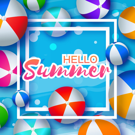 plastic material: Realistic Colorful Beach Balls. Rubber or Plastic Material. Background with Hello Summer Title and Square Frame in center. Vector Illustration