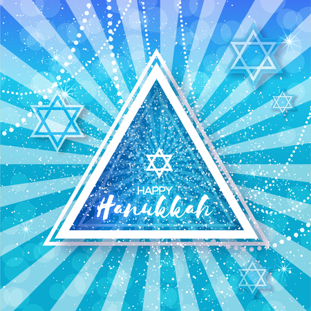 magen: Happy Hanukkah with origami Magen David stars. Papercraft jewish holiday simbol on blue background with triangle frame for text. Vector design illustration