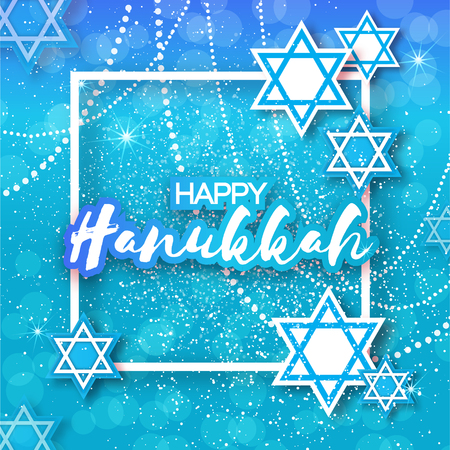 magen: Happy Hanukkah with origami blue Magen David stars. Papercraft jewish holiday simbol on blue background with frame for text. Vector design illustration