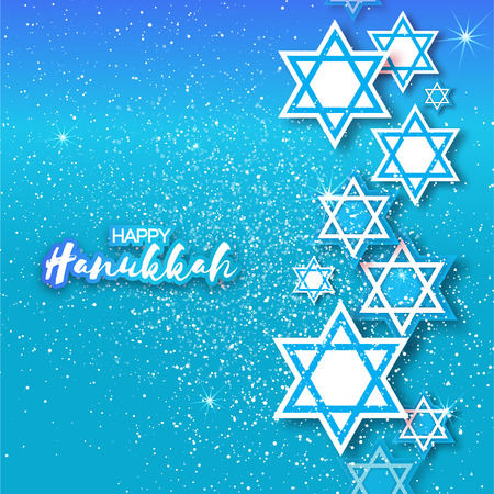 magen david: Happy Hanukkah with origami Magen David stars. Papercraft jewish holiday simbol on blue background. Vector design illustration