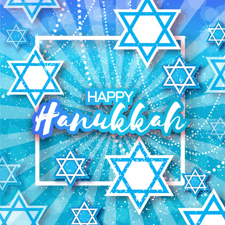 magen david: Happy Hanukkah with origami Magen David stars. Papercraft jewish holiday simbol on blue background with frame for text. Vector design illustration