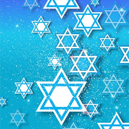 Magen David stars. Papercraft jewish holiday simbol on blue background. Vector design illustration Illustration
