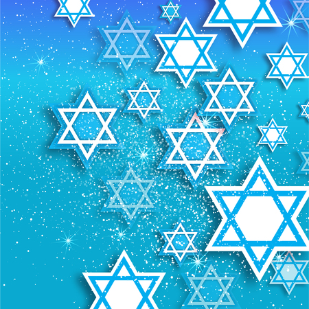 Magen David stars. Papercraft jewish holiday simbol on blue background. Vector design illustration Illustration
