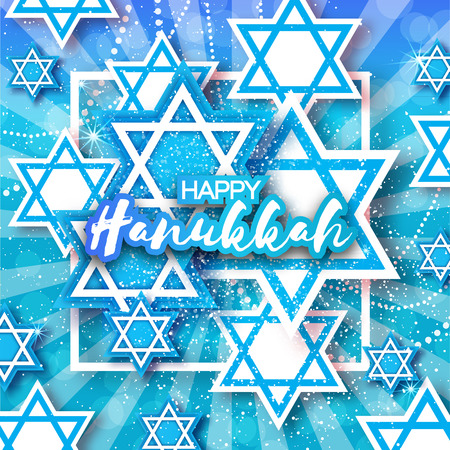 magen: Happy Hanukkah with origami Magen David stars. Papercraft jewish holiday simbol on blue background with frame for text. Vector design illustration