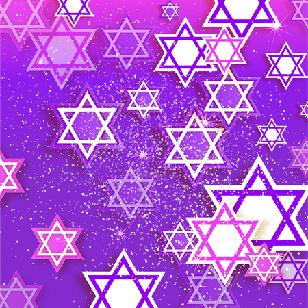 magen: Magen David stars. Papercraft jewish holiday simbol on purple background. Vector design illustration