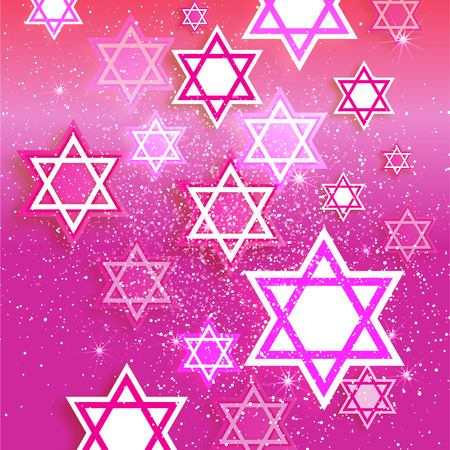 magen: Magen David stars. Papercraft jewish holiday simbol on pink background. Vector design illustration Illustration