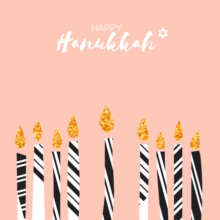 Cute Happy Hanukkah Greeting card with gold glitter elements. Jewish holiday with candles on pink background. Vector design illustration Illustration