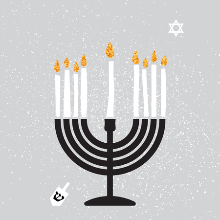 spinning top: Cute Happy Hanukkah Greeting card with gold glitter elements on grey background. Jewish holiday with menorah - traditional Candelabra,candles and dreidels - spinning top. Vector design illustration