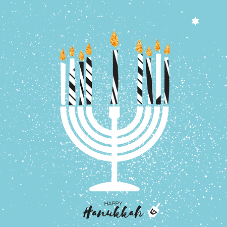 Cute Happy Hanukkah Greeting card with gold glitter elements on blue background. Jewish holiday with menorah - traditional Candelabra,candles and dreidels - spinning top. Vector design illustration