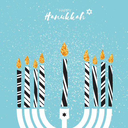 Cute Happy Hanukkah Greeting card with gold glitter elements on blue background.. Jewish holiday with menorah - traditional Candelabra,candles. Vector design illustration