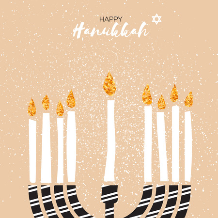 Cute Happy Hanukkah Greeting card with gold glitter elements. Jewish holiday with menorah - traditional Candelabra,candles. Vector design illustration