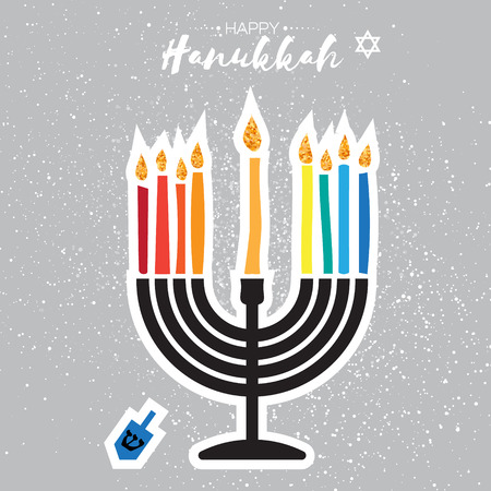 candelabra: Colorful Happy Hanukkah Greeting card on grey background. Jewish holiday with menorah - traditional Candelabra,candles and dreidels - spinning top. Vector design illustration