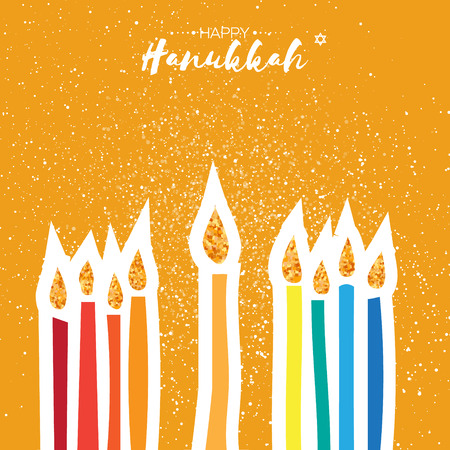Colorful Happy Hanukkah Greeting card with gold glitter elements on orange background. Jewish holiday with menorah - traditional Candelabra,candles. Vector design illustration Illustration