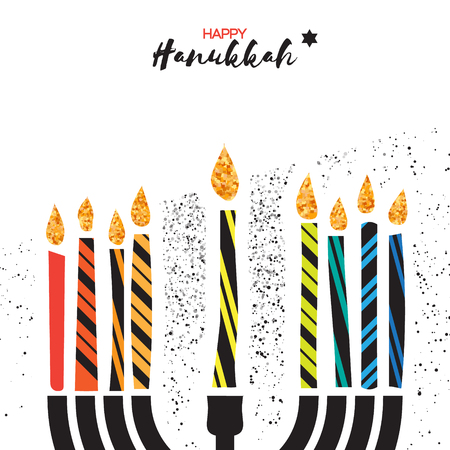 talmud: Cute Happy Hanukkah Greeting card. Jewish holiday with menorah - traditional Candelabra, colorful candles on white background. Vector design illustration