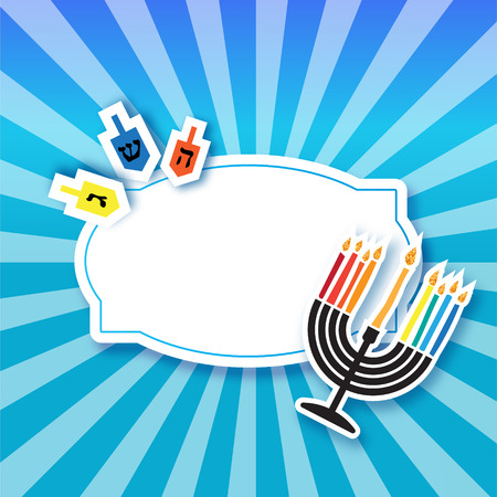 spinning top: Colorful Origami Happy Hanukkah Greeting card on blue background with frame for text. Jewish holiday with menorah - traditional Candelabra,candles and dreidels - spinning top. Vector illustration Illustration