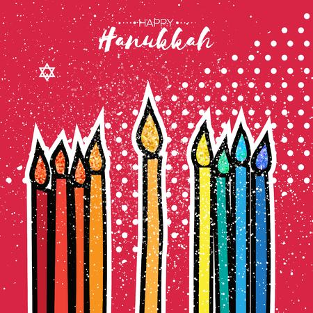Colorful Happy Hanukkah Greeting card with gold glitter elements on red dot background. Jewish holiday with menorah - traditional Candelabra,candles. Vector design illustration Illustration